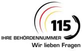 Logo der D115-Behördennummer mit dem Slogan: Wir lieben Fragen